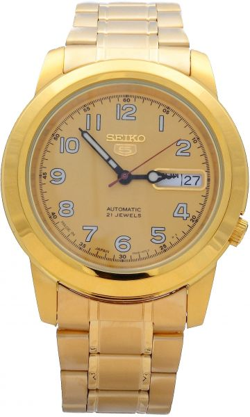923d5d9624a3 Seiko 5 Men s 21 Jewels Automatic Gold Tone Stainless Steel Analog ...