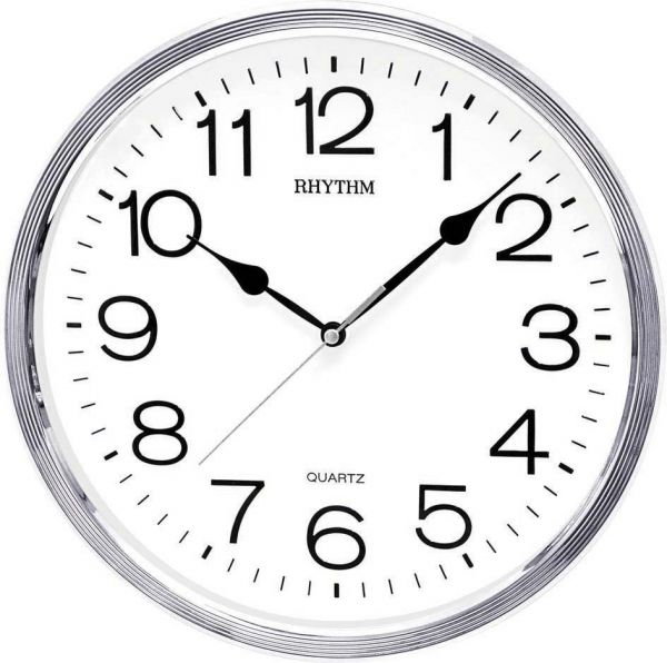 Rhythm Wall Clock CMG734BR19 SilverWhite price review and buy
