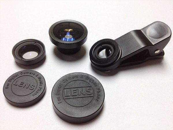 Universal 3-in-1 Clip On Wide Angle Fisheye Macro Lens Set for iPhone / HTC / Samsung/ Tablet etc(black)