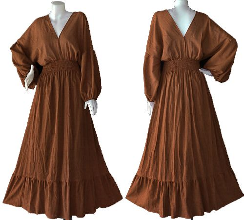 302eeee51a56 Hippie Gypsy Bohemian orange brown Cotton Long Sleeve Kimono Maxi ...