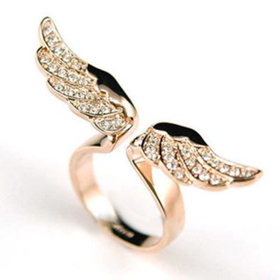 Buy Rose Gold Angel Bronze and Crystal Fly Wing Design Ring