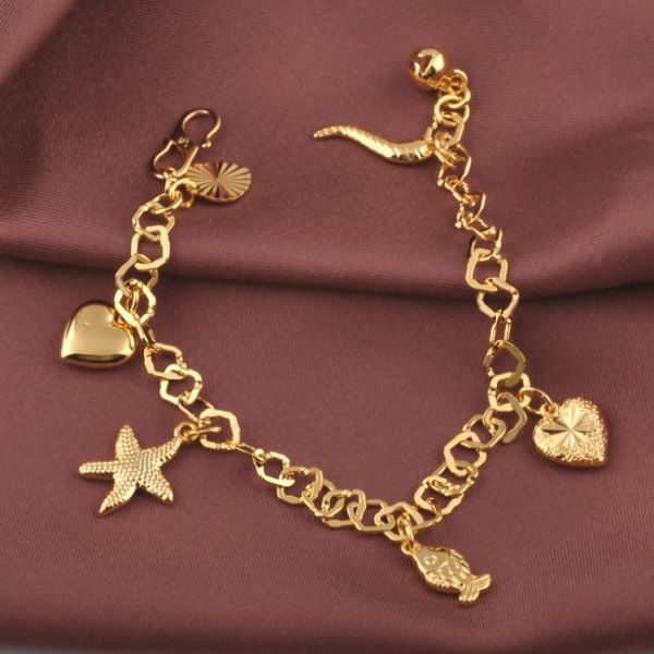 Buy 24K Real Gold Plated Beautiful Charms Bracelet ...