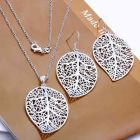 925 Sterling Silver Leaf Necklace and Earrings Set (Jewelry set)