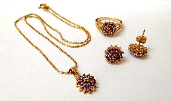Buy 18k Bangkok Gold with Purple Cystal Stones Jewelry Set 3n1