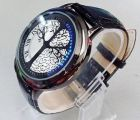 Tree Pattern Hybrid Blue Touch Screen Black Leather LED Watch (Watch)