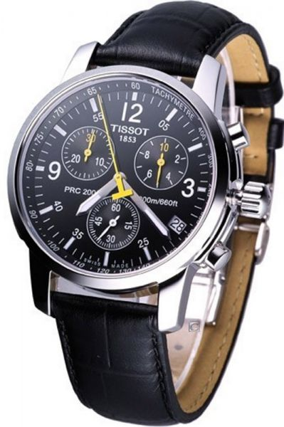6dfaaf52977 Men s Tissot PRC 200 Swiss Black Dial Leather Chronograph Techymeter ...