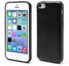 Soft Leather Skin Coated TPU Jelly Cover for iPhone 5c - Black (Mobile Phone Accessories)