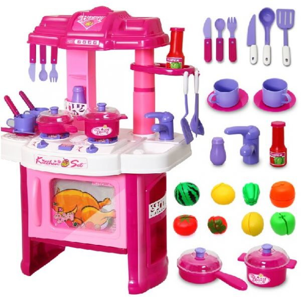 Big kitchen cook set for kids pretend play toy price for Kitchen set for 9 year old
