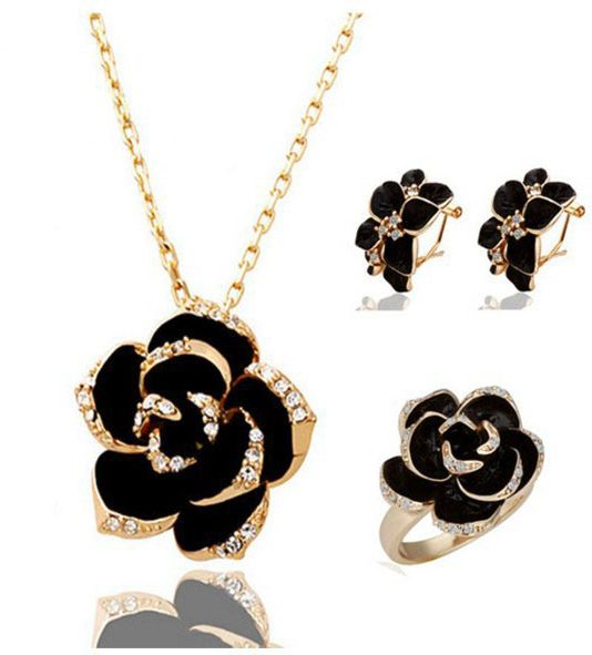 Buy 18k gold plated jewelry set black rose flower necklace earrings 18k gold plated jewelry set black rose flower necklace earrings mm0103 aloadofball Images