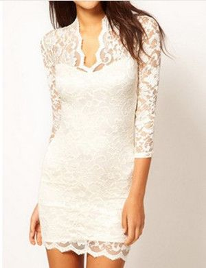 7238e90ac39e Ladies  Slim Flower V-neck Middle 3 4 Sleeve Women s Party Evening Elegant  Mini Lace Dress For Women Gg0045 White Sizes