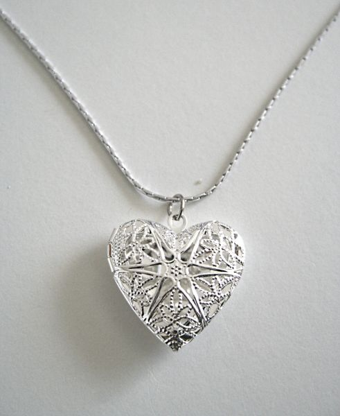 Buy silver heart locket pendant with necklace necklaces uae souq 800 aed aloadofball Gallery