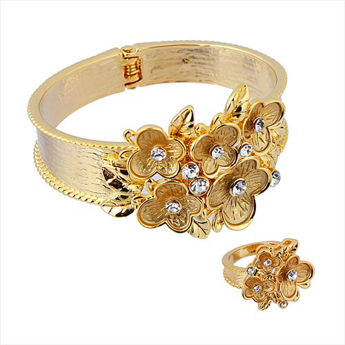 Buy 14K Gold Plated CZ Bangle and Ring Set Flower Design BL