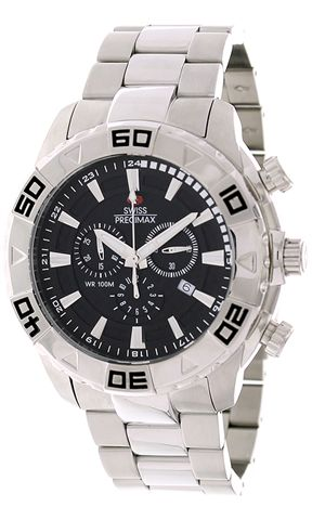 e597dcd8a ساعة بريسيماكس سويسرية أنيقة Swiss Precimax Men's Valor Elite SP12051 Silver  Stainless-Steel Swiss Chronograph Watch
