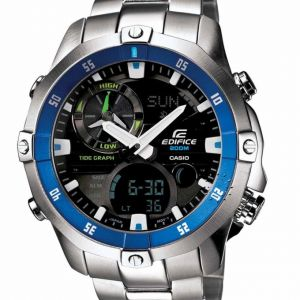88f600b1e Casio Edifice Men's DIGITAL ANALOG ALL STAINLESS STEEL CASE STEEL BEZEL  MOON DATE THERMOMETER WORLD TIME 200 M WATER RESISTANT