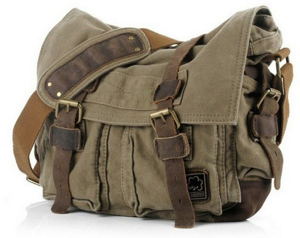 Vintage Schoudertas Heren : Buy unisex men women shoulder bag canvas leather fashion