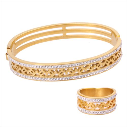 Buy 18K Gold Plated Bangle and Ring Set with Crystal Stones
