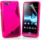 S Body Style Sony Xperia Miro St23i TPU Gel Silicone Case Cover Included CALANS Screen Protector -(Hot Pink) (Mobile Phone Accessories)
