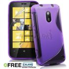 S Body Style Nokia Lumia 620 TPU Gel Silicone Case Cover With Free CALANS Screen Protector -(Purple) (Mobile Phone Accessories)