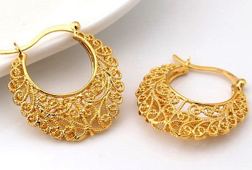 Buy 18k Real Gold Plated Latest Design Hollow Flowers Hoop Earrings