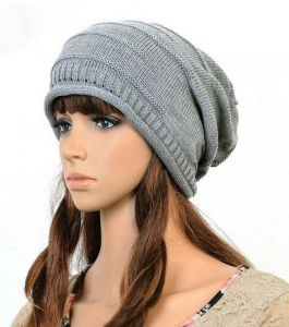 FOLDING CAP WINTER HAT FASHIONABLE MEN AND WOMEN KNITTING WOOL CAP HT-0008  gray bc4d217d8765
