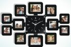 Square Wall Clock With 12 Photo Frames - Black (Clock)