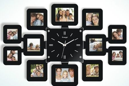 Square Wall Clock With 12 Photo Frames Black price review and