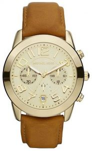 d64a9e126b783 Michael Kors Ladies Champagne Dial Leather Band Watch  MK2251