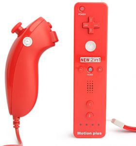 best cheap 19724 cfa20 Nunchuck Motion Plus Remote Controller Set for Nintendo Wii, Wii U--Red