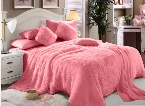 Interior Fur Bed Sheets faux fur luxe soft 6 pieces double comforter set pink price 124 00 aed