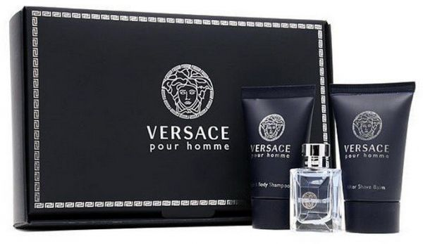 Versace pour homme 3 pc mini gift set for men with perfume for Bathroom sets for men