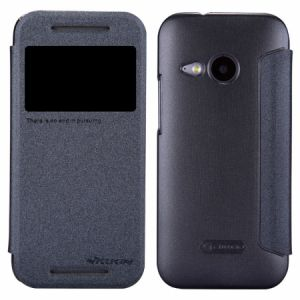 Nillkin Sparkle Flip Leather Case Cover for HTC One Mini 2 M8 Mini With Screen Protector - Black