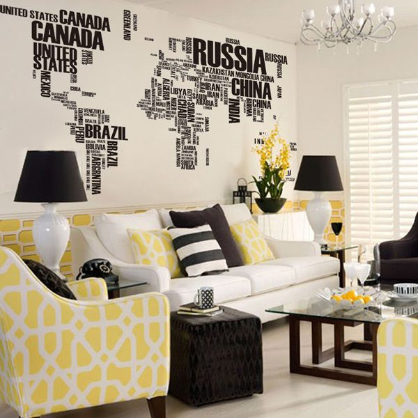 miihome world map in words removable vinyl wall sticker decal | souq