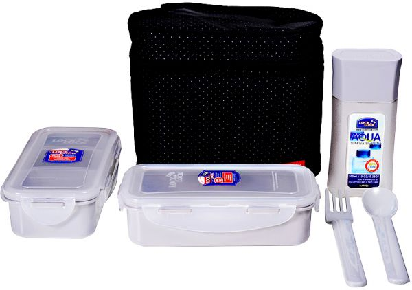 Lock lock lunch box set of 5 piece black hpl758db for Decor 6 piece lunchbox