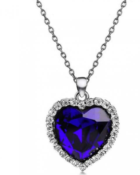 Buy blue heart of ocean titanic crystal women necklaces and blue heart of ocean titanic crystal women necklaces and pendants ladies favorite fashion jewelry aloadofball Image collections
