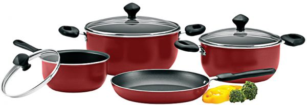 Prestige Aluminum Non Stick Cookware Set Of 7 Piece Red