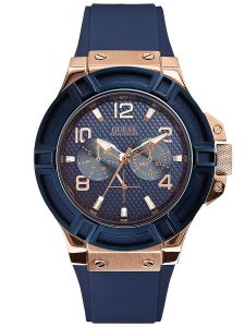 Guess For Men Blue Dial Silicone Band Watch - U0247G3 ...