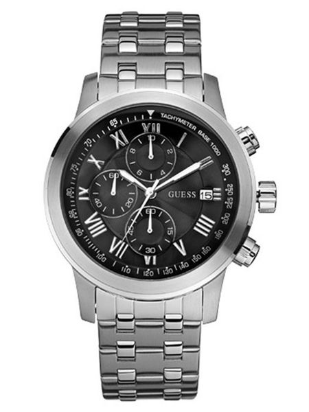 Buy Guess For Men Black Dial Stainless Steel Band ...