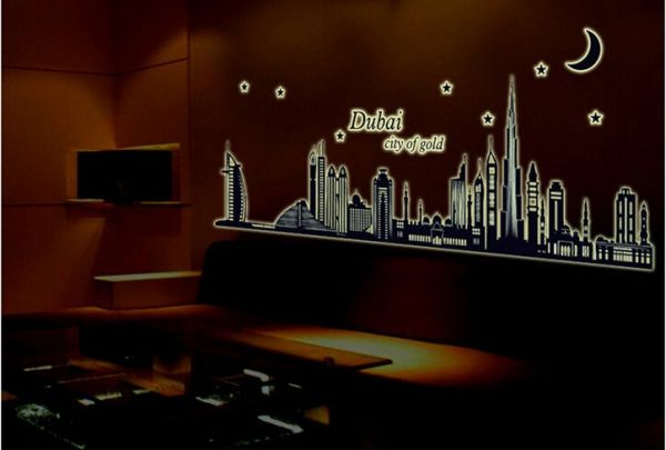 Glow In The Dark Luminous Night Dubai City Vinyl Removable Mural Home Decor  Diy Wall Stickers Decal Part 19