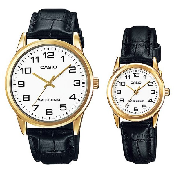 214033455d4c Casio His   Hers White Dial Leather Band Couple Watch -  MTP LTP-V001GL-7BUDF