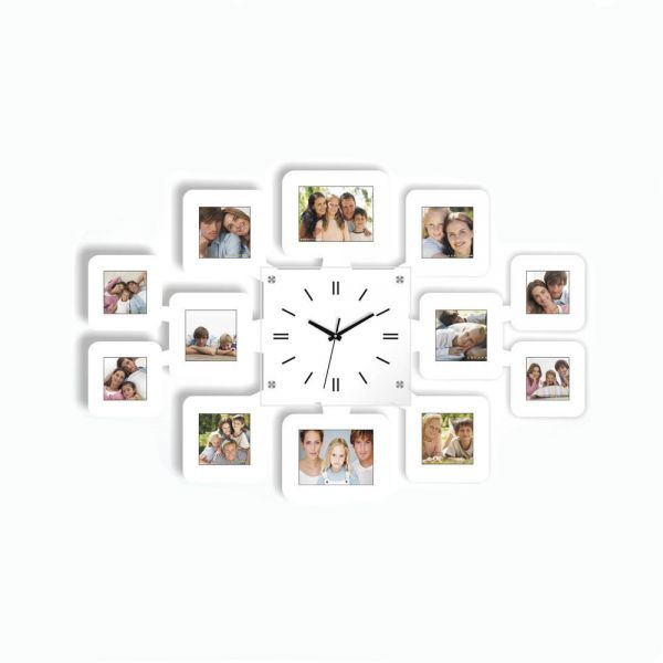 Wall Clock with 12 Photo Frames White price review and buy in