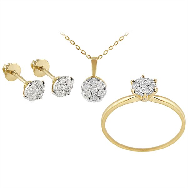 Buy Vera Perla 18K Solid Yellow Gold Diamond Solitaire Jewelry Set