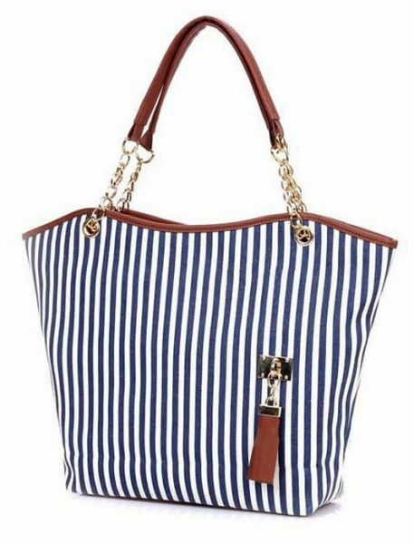Women Lady Shopping Handbag Navy Blue Stripes Tassel Shoulder Canvas Tote  Bag  32f353f46e