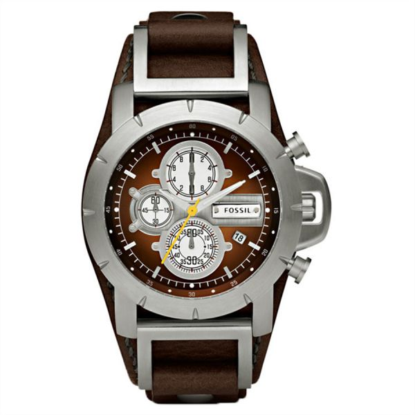 fossil jake men s brown dial leather band chronograph watch fossil jake men s brown dial leather band chronograph watch jr1157