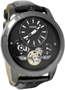 b4fe49484 Fossil Men's Grant ME1126 Black Dial - Stainless Steel case - Black Calf  Skin Automatic Watch
