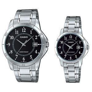 a560b6aac40 Casio His   Hers Black Dial Stainless Steel Band Couple Watch -  MTP LTP-V004D-1B
