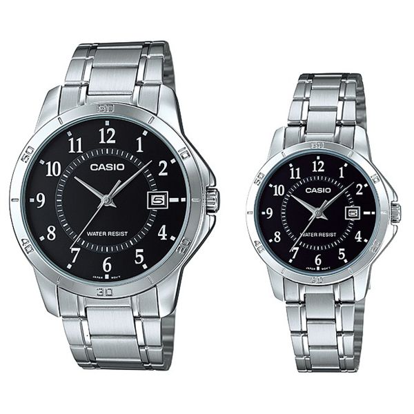 6379ea766f64 Casio His   Hers Black Dial Stainless Steel Band Couple Watch - MTP LTP -V004D-1B. by Casio
