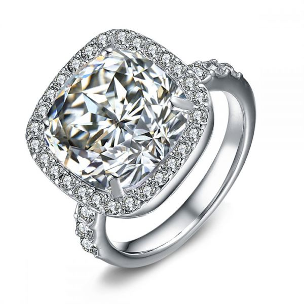 Mestige Rhodium Plated Crystal Cushion Cut Casual Ring [RMS278]
