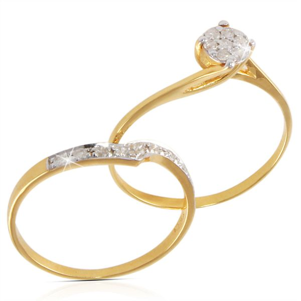 Vera Perla 18k Solid Gold With 0 17ct Genuine Diamond Twisted Engagement Ring Set Size Us6