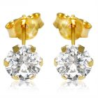 Vera Perla 18K Solid Yellow Gold and 5mm Cubic Zirconia Earrings (Earring)