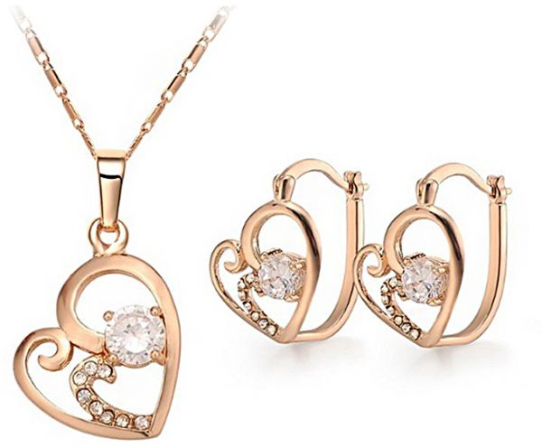 Buy mysmar 18k gold plated crystal jewelry set mm175 for Is gold plated jewelry worth anything